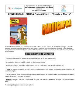 """CONCURSO de LEITURA Porto Editora – """"Duarte e Marta"""