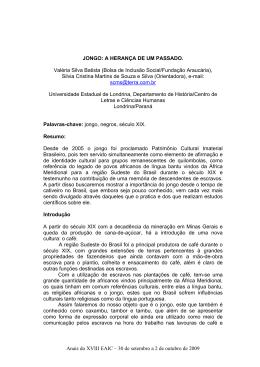 JONGO: A HERANA DE UM PASSADO