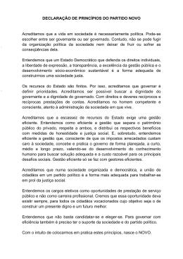 DECLARAÇÃO DE PRINCÍPIOS DO PARTIDO NOVO Acreditamos