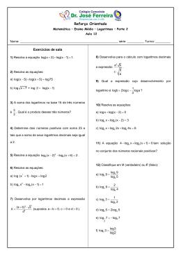 Reforço Matematica EM - Logaritmos - Atividade 12