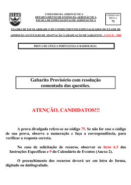 Gabarito Oficial - EAGS-B 2008 - Radiologia Cod. 75