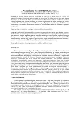 APLICAÇÃO DO CÁLCULO MATRICIAL AO