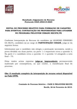 Resultado Interposição de Recurso LEANDRO PINHEIRO DA SILVA