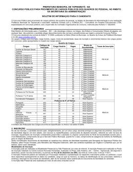 BIC - Boletim Informativo do Candidato