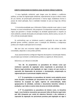 DIREITO CONSOLIDADO DE RESERVA LEGAL NO NOVO