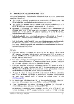 1.5 – INDICADOR DE RECOLHIMENTO DO FGTS Informar a