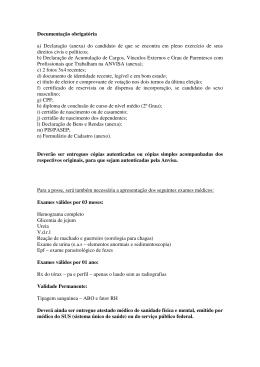 Documentação obrigatória a) Declaração (anexa) do