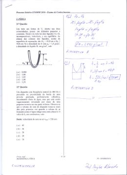 Prova de Física Resolvida EFOMM 2016