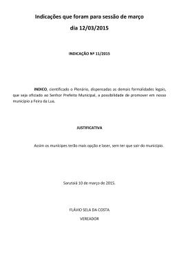 Indicações que foram para sessão de março dia 12/03/2015