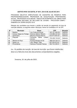 Obs: Os pedidos de isenção da taxa de inscrição que foram