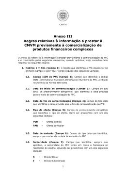 Anexo III Regras relativas à informação a prestar à CMVM