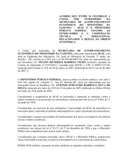 Acordo SEAE - Cooperação Técnica e Operacional em defesa da