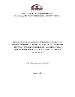 OFICINA DE METODOLOGIA CIENTÍFICA: ELABORAÇÃO DE
