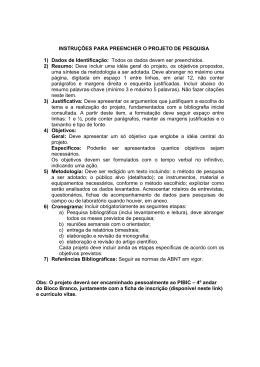 Instruções para preencher o projeto de pesquisa