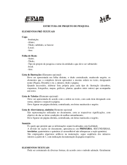 ESTRUTURA DE PROJETO DE PESQUISA ELEMENTOS