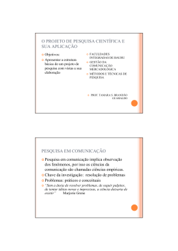 projeto de pesquisa - FIB - Faculdades Integradas de Bauru