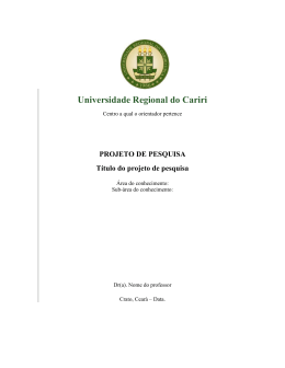 PROJETO DE PESQUISA Título do projeto de pesquisa