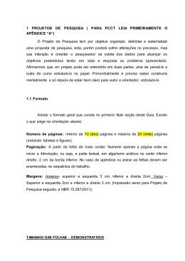 1 PROJETOS DE PESQUISA ( PARA PCCT LEIA