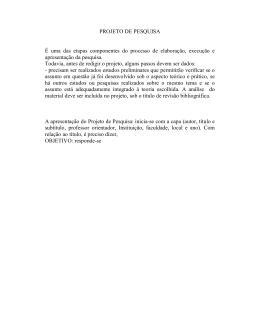 Projeto de pesquisa - Professora Mestra Clarissa Bottega
