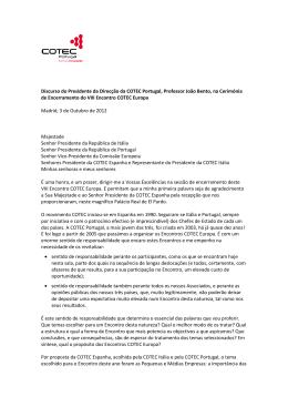 Discurso do Presidente da Direcção da COTEC Portugal, Professor