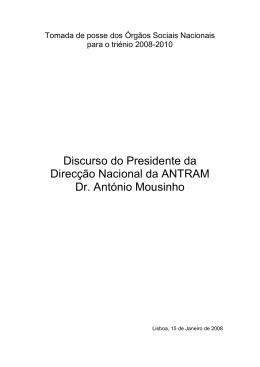 Discurso do Presidente da Direcção Nacional da ANTRAM Dr