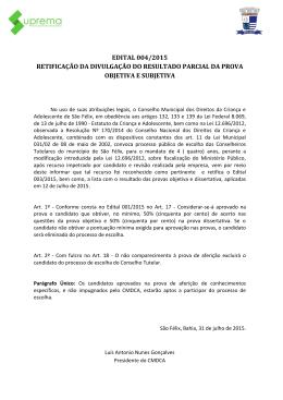 edital 004/2015 retificação da divulgação do resultado parcial da