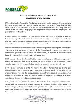 """NOTA DE REPÚDIO A """"UOL"""" EM DEFESA DO PROGRAMA BOLSA"""