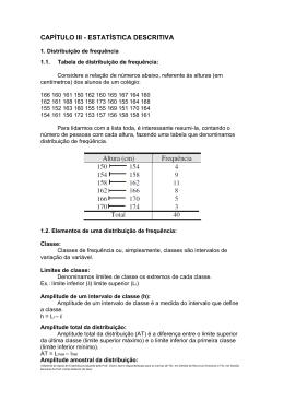 CAPÍTULO III - ESTATÍSTICA DESCRITIVA