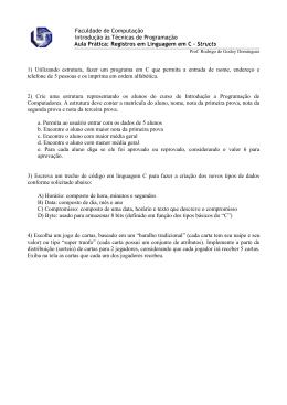Prática 8 - Structs - Faculdade de Computação