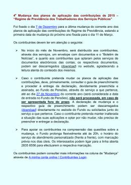 4 a Mudança dos planos de aplicação das contribuições de 2015