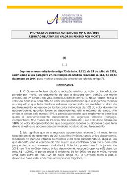 PROPOSTA DE EMENDA AO TEXTO DA MP n. 664/2014