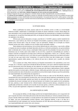 PROVA ESCRITA P3 – 1.ª PARTE – Sentença Cível