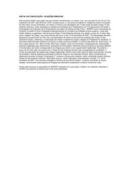 EDITAL DE CONVOCAÇÃO - ELEIÇÕES SINDICAIS Pelo presente
