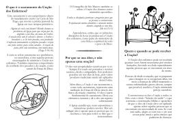 Unção dos enfermos - Paróquia da Santíssima Trindade