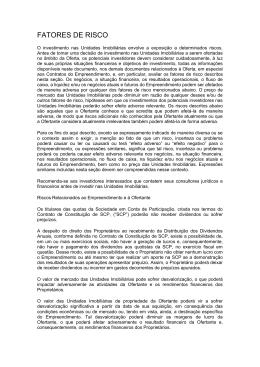 FATORES DE RISCO - Odebrecht Realizações Imobiliárias