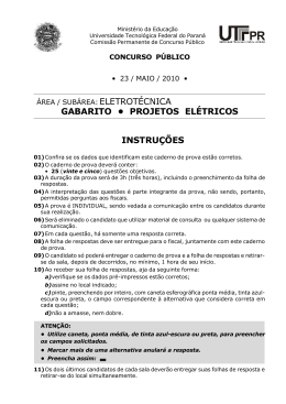 Prova e gabarito - Eletrotécnica/ Projetos Elétricos