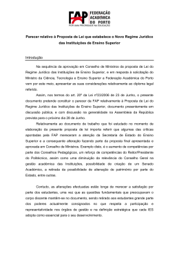 19junho2007 Parecer relativo à Proposta de Lei que estabelece o