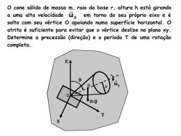 O cone sólido de massa m, raio da base r, altura h está girando