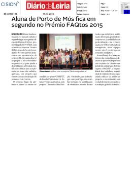 Aluna de Porto de Mós fica em segundo no Prémio FAQtos 2015