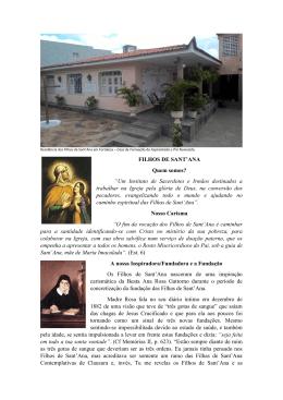 """FILHOS DE SANT`ANA Quem somos? """"Um Instituto de Sacerdotes e"""