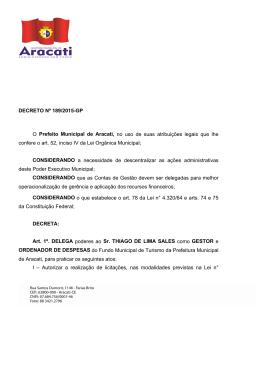 DECRETO Nº 189/2015-GP O Prefeito Municipal de Aracati, no uso