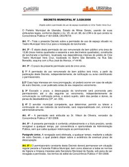 DECRETO MUNICIPAL Nº 3.528/2008 O Prefeito Municipal de