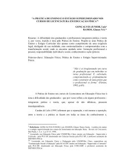 """""""A PRÁTICA DE ENSINO E O ESTÁGIO SUPERVISIONADO NOS"""
