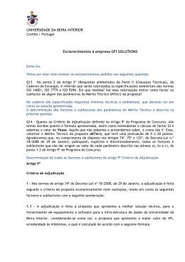 UNIVERSIDADE DA BEIRA INTERIOR Esclarecimentos à empresa
