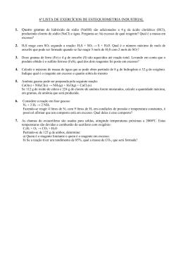 6ª LISTA DE EXERCÍCIOS DE ESTEQUIOMETRIA INDUSTRIAL