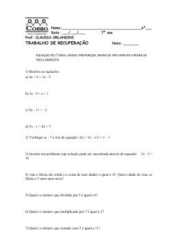 Trabalho Recuperação Álgebra 7ºAno