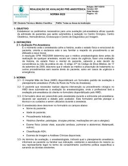 Norma 620 Realização de Avaliação Pré-Anestésica