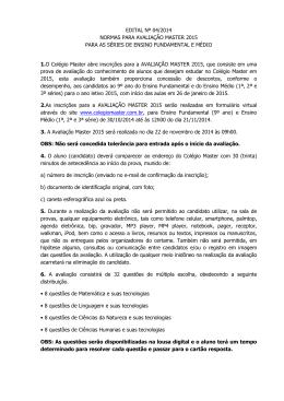EDITAL Nº 04/2014 NORMAS PARA AVALIAÇÃO MASTER 2015