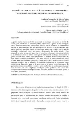 A GESTÃO ESCOLAR E A AVALIAÇÃO INSTITUCIONAL