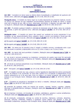 Consolidação das Leis do Trabalho Arts. 402 a 456